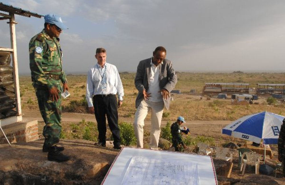 SRSG Haile Menkerios (right) and Deputy Director of Mission Support Patrick Carey at construction site of new UN house, which will serve as permanent headquarters of UN in Southern Sudan.