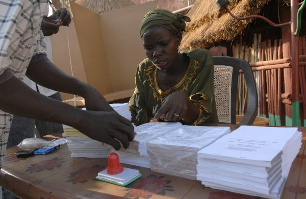 Polling station on initial day of voting (11 April) in Sudan's first multi-party elections in 24 years.