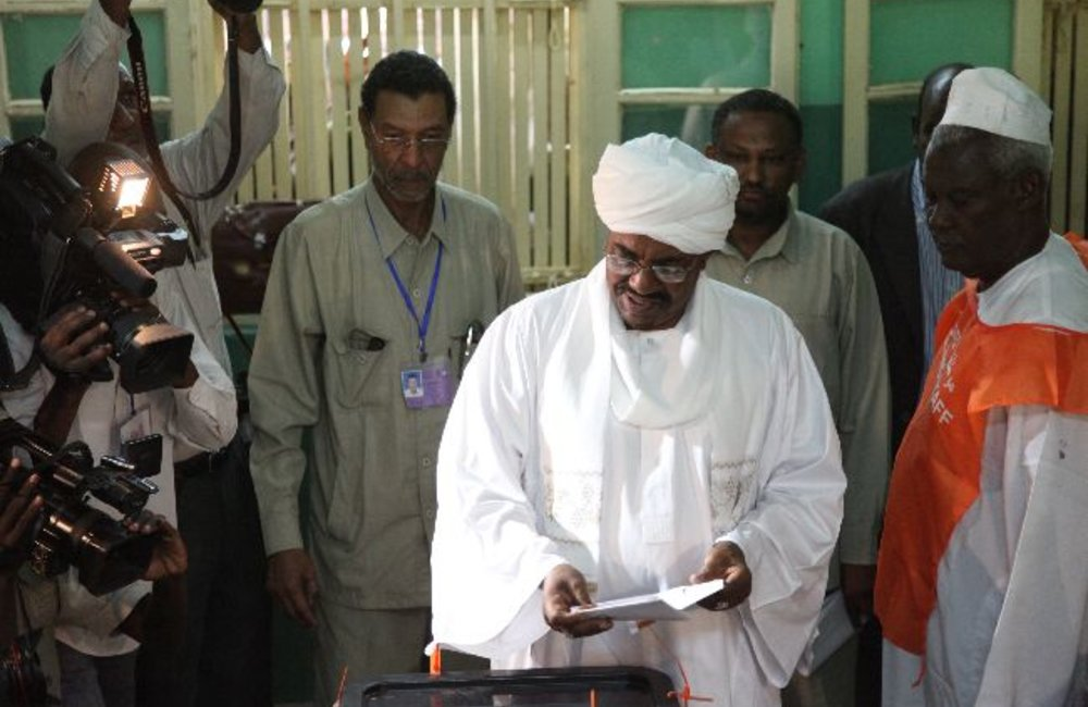 Sudanese President Omar Al Bashir voting in Sudanese elections on 11 April at St. Francis School, Khartoum.