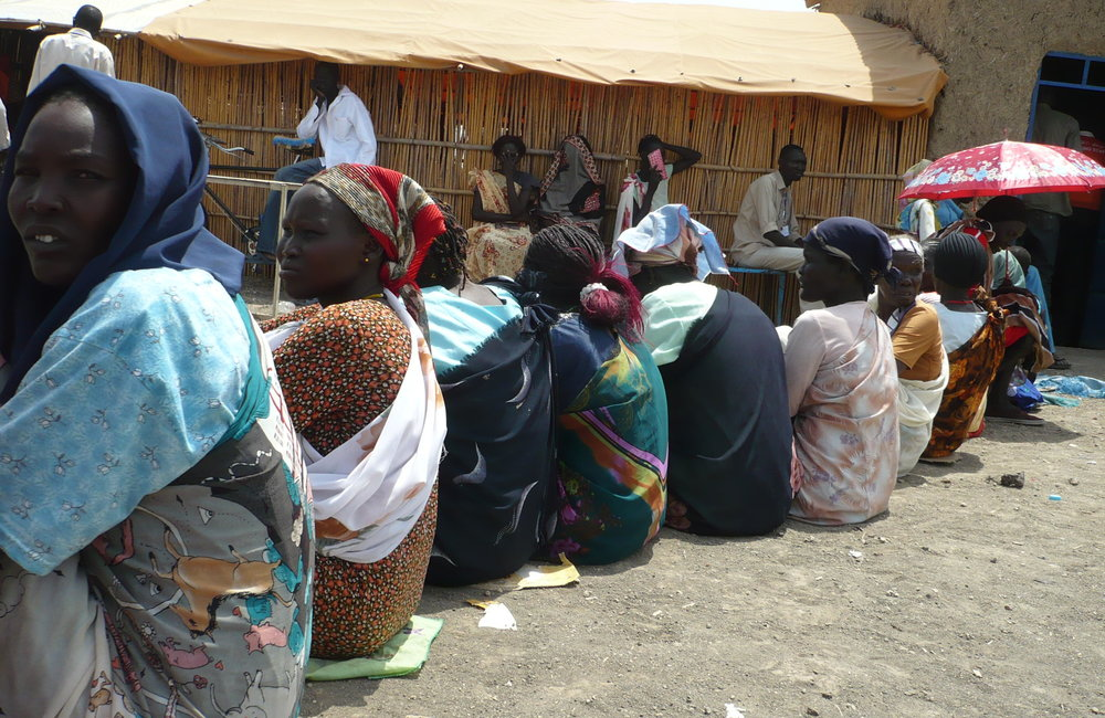 Women voters sat down to queue waiting for their turn to vote, South Malakal