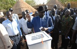 President of Government of Southern Sudan and First Vice-President of Sudan Salva Kiir Mayardit voting in Sudanese elections on 11 April.