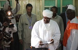 Sudanese President Omar Al Bashir voting in Sudanese elections on 11 April at St. Francis School, Khartoum.